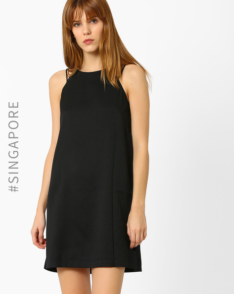 Strappy A-line Dress By MDS ( Black )