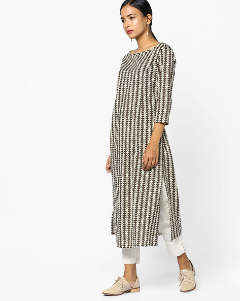 Printed Straight Kurta With Boat Neck By AJIO ( Olive )