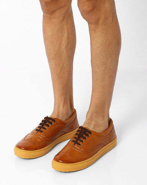 Alecto Wing Cap Brogue Shoes By Knotty Derby ( Tan )