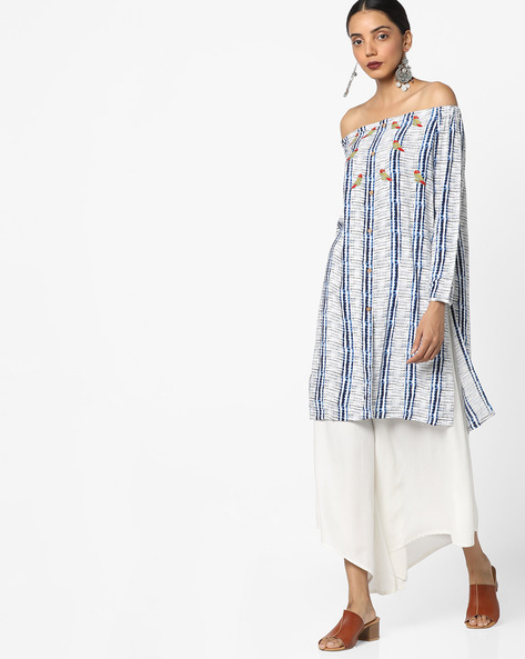 Printed Off-Shoulder Kurta By AJIO ( Blue )