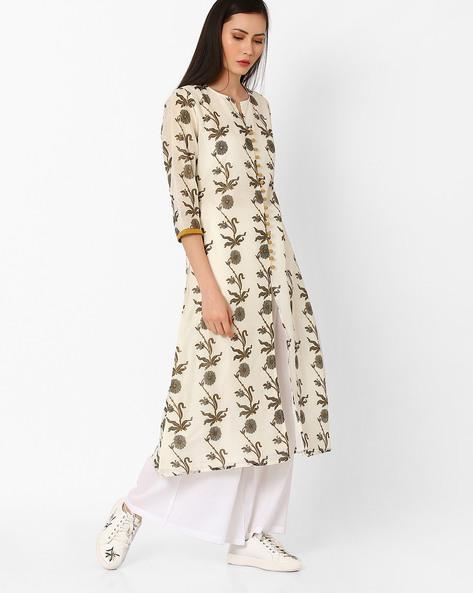 Floral Print Chanderi Kurta With Front Slit By Shakumbhari ( Grey )