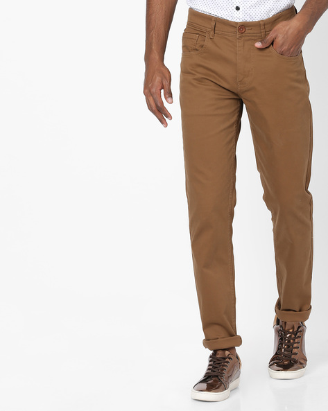 Slim Fit Flat-Front Trousers By SPYKAR ( Brown )