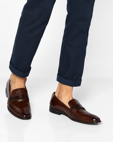 Genuine Leather Slip-On Shoes By TEAKWOOD LEATHERS ( Brown )