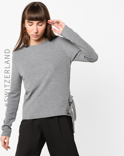 Crew-Neck Pullover With Side Tie-Up By TALLY WEiJL ( Grey )