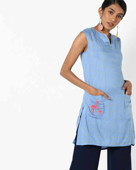 Sleeveless Printed Tunic With Patch Pockets By AJIO ( Blue )
