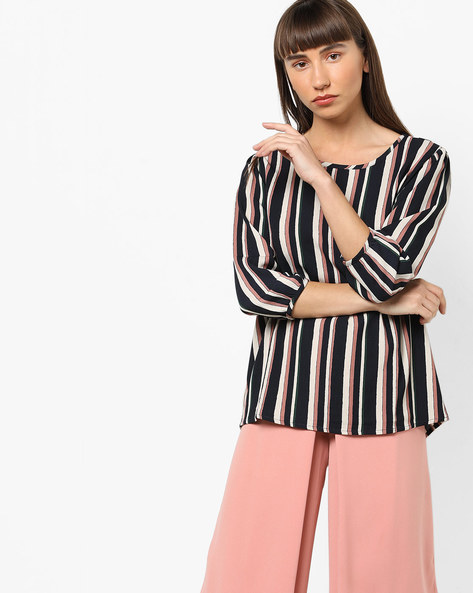 Striped Round-Neck Blouse By Only ( Brown )