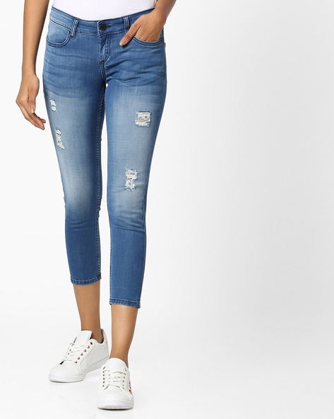 Skinny Cropped Jeans By Pepe Jeans ( Blue )