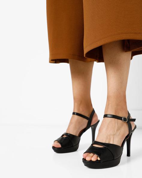 Stiletto Heeled Sandals By AJIO ( Black )