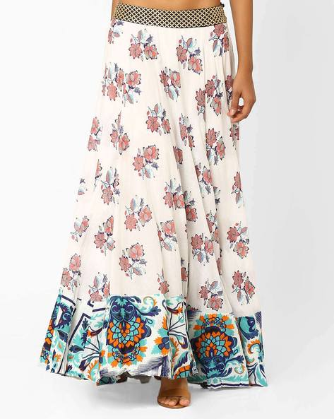 Floral Print Maxi Skirt By AJIO ( White )