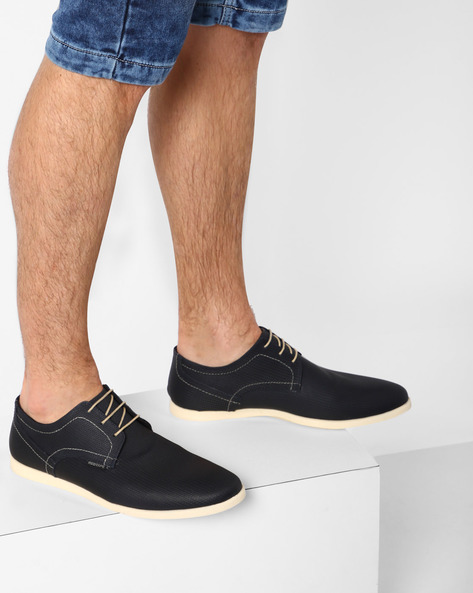 Textured Genuine Leather Lace-Up Shoes By RED TAPE ( Blue )