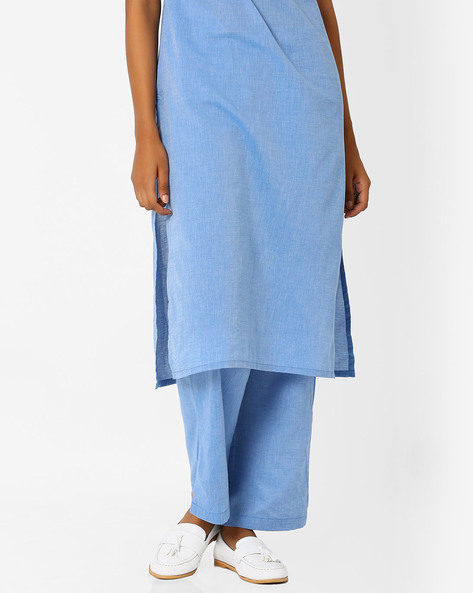 Relaxed Fit Trousers With Elasticated Waist By AJIO ( Lightblue )