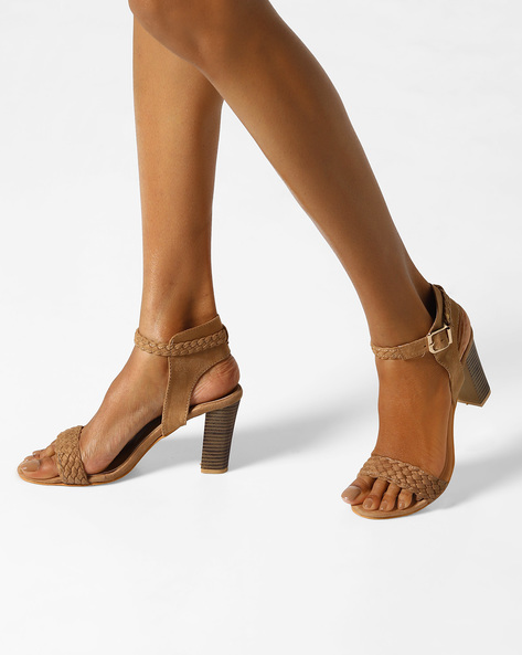Ankle-Strap Heels With Braided Design By MFT Couture ( Khaki )
