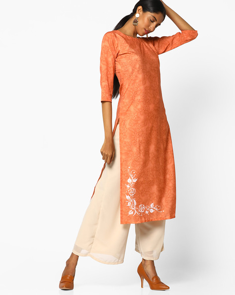 Floral Print Straight Kurta By ZIYAA ( Orange )