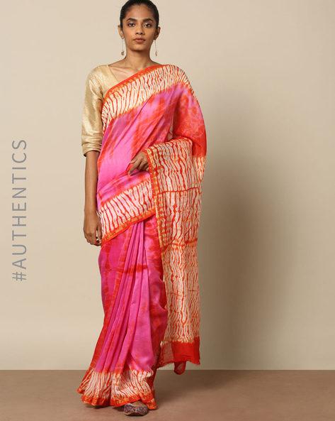 Shibori Tie Dye Chanderi Saree With Zari By Indie Picks ( Multi ) - 460146850001