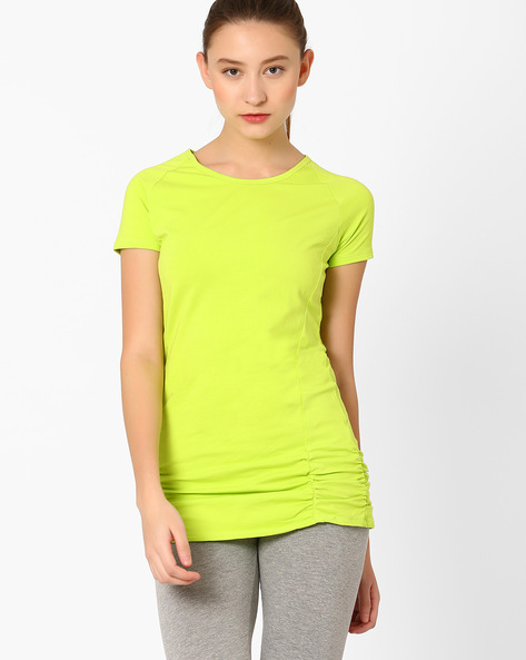 T-shirt With Raglan Sleeves By AJIO ( Limegreen )