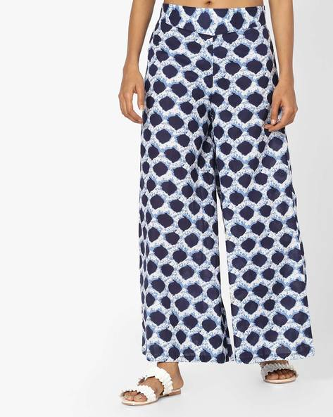 Printed High-Rise Palazzo Pants By Desi Weaves ( Blue ) - 460165659002