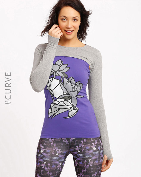 Graphic Print Layered Top By AJIO ( Purple )