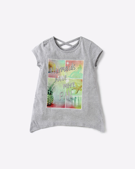 Graphic Print T-Shirt With Dipped Hemline By POINT COVE ( Greymelange )