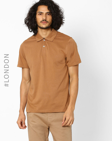 Cotton Polo T-Shirt By Marks & Spencer ( Brown )