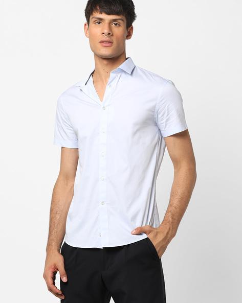 Slim Fit Shirt With Curved Hem By Celio ( Lightblue )