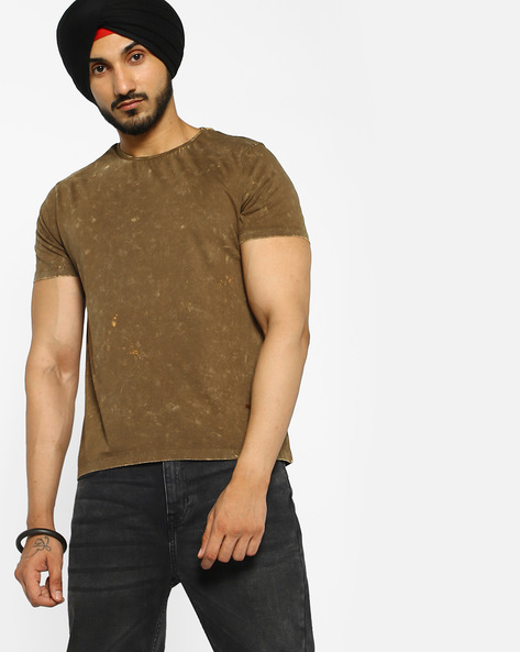 Crew-Neck T-shirt With Washed Effect By AJIO ( Olive )