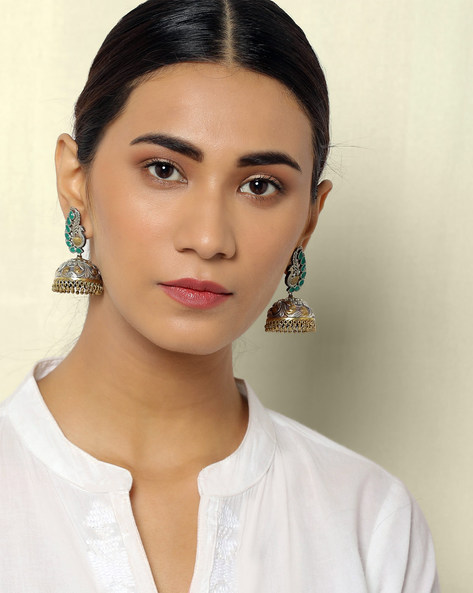 Dual-Toned Peacock Brass Jhumkas By Indie Picks ( Multi )