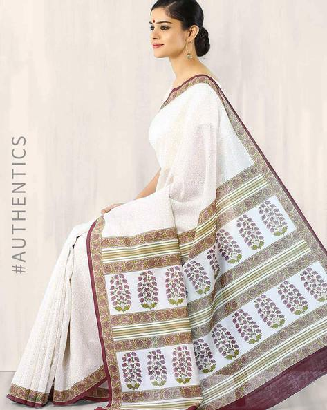 Hand-Block Print Chanderi Saree By Indie Picks ( Brown )