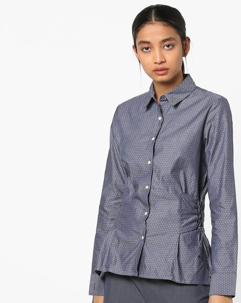Dobby Weave Shirt With Tie-Ups By AJIO ( Blue )