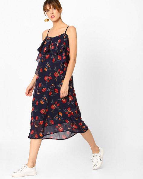 Floral Print Strappy Midi Dress By AJIO ( Navyblue )