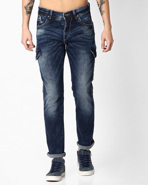 Slim Fit Lightly Washed Jeans By SPYKAR ( Dkblue )