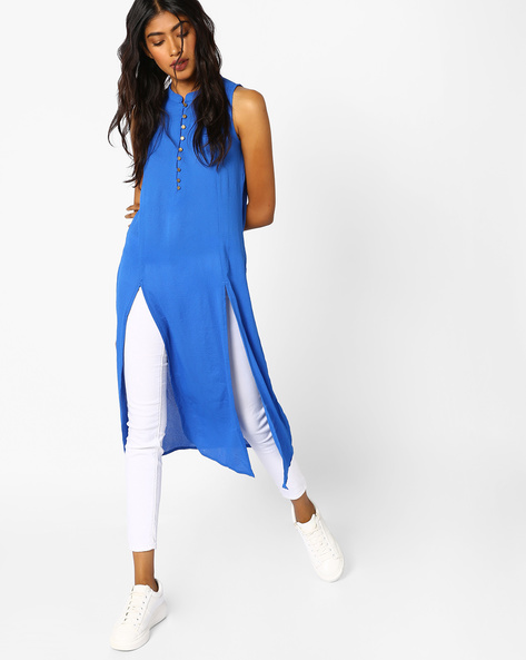Sleeveless Tunic With Box Pleats By COLOUR ME ( Blue )