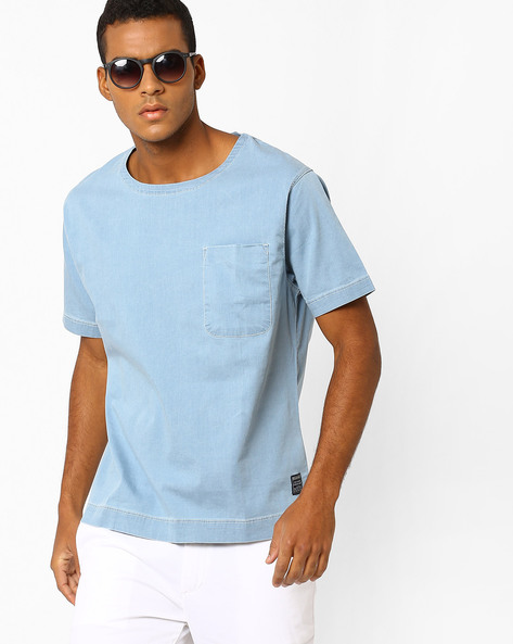 Crew-Neck T-shirt With Patch Pocket By Blue Saint ( Blue )