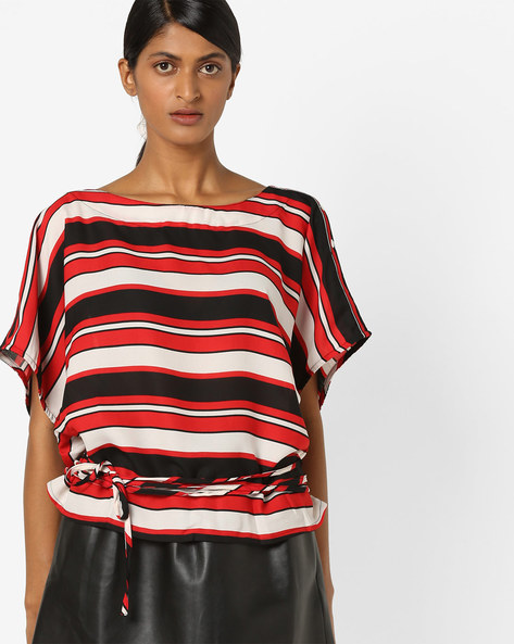Drop-Shoulder Striped Top With Tie-Up By Oxolloxo ( Multicolour )
