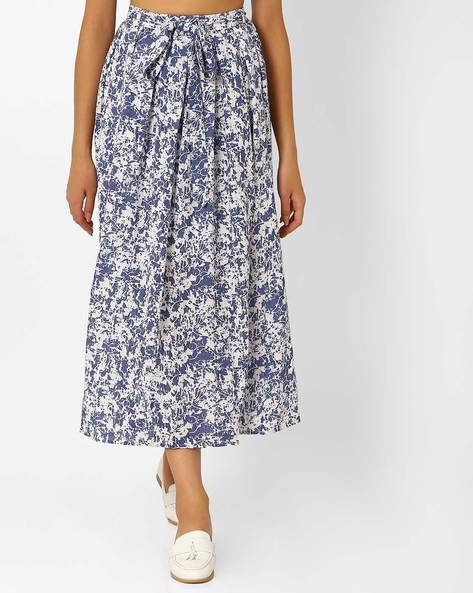 Printed A-line Maxi Skirt By Recap ( Navy )