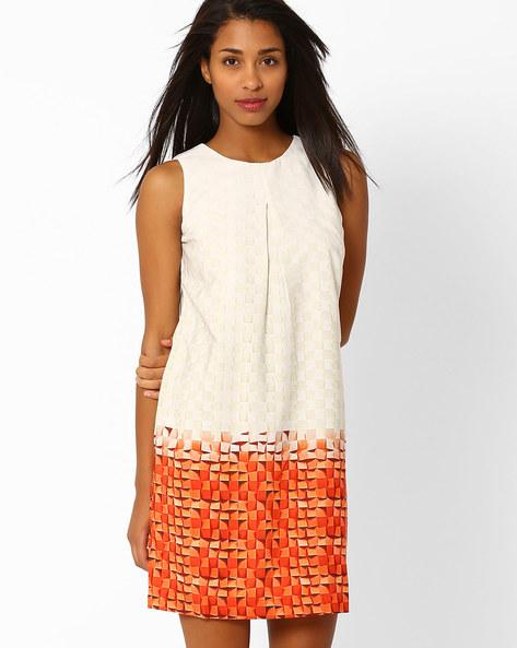 Printed Sleeveless Shift Dress By Recap ( Cream )
