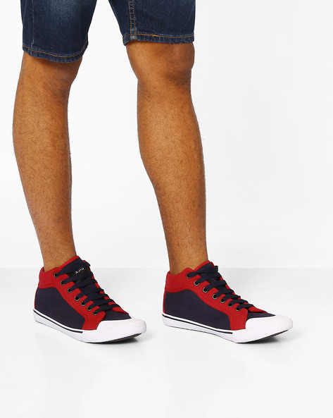 Mid-Top Canvas Sneakers By AJIO ( Navy )