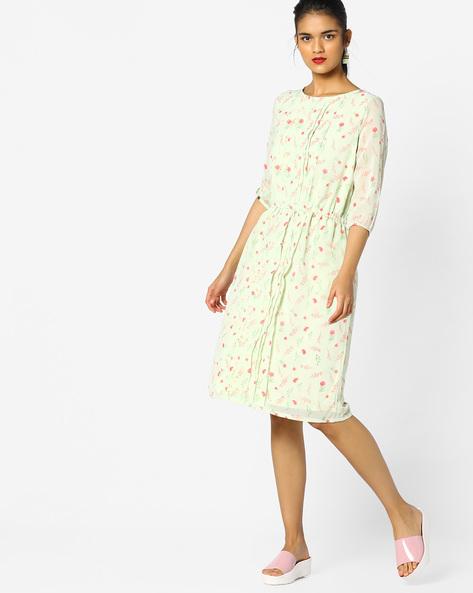 Floral Print Midi Dress With Pintucks By PE WW Work ( Ltgreen )