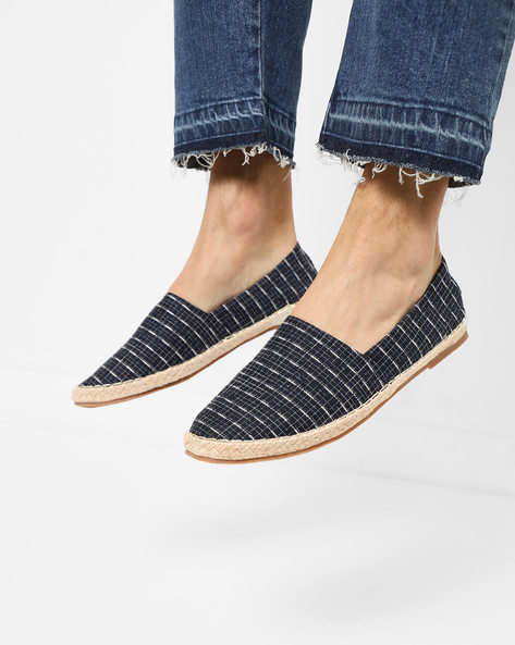 Slip-On Checked Espadrilles By AJIO ( Navy )