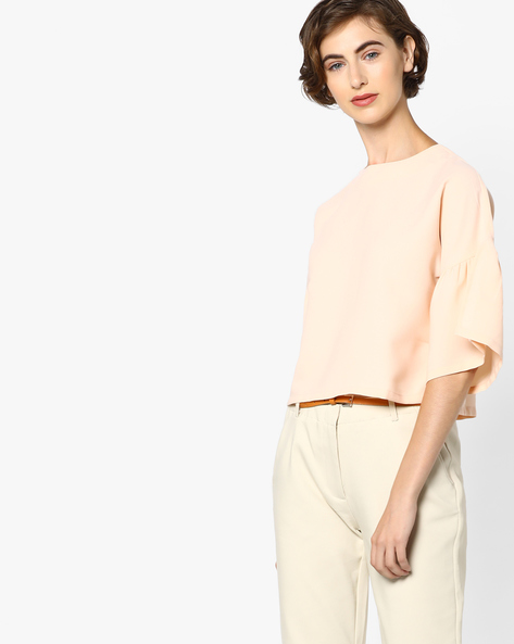 Short Top With Split Bell Sleeves By AJIO ( Peach )