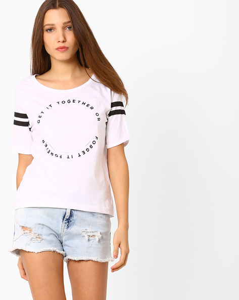 Graphic Print T-Shirt By AJIO ( Offwhite )