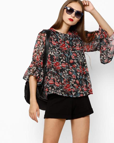 Floral Print Top With Bell Sleeves By AJIO ( Black )