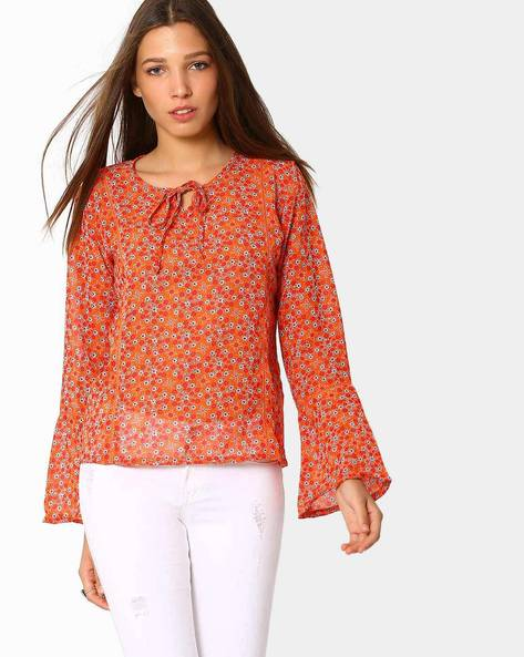 Floral Print Top With Bell Sleeves By ANONYMOUS CO ( Brtmulti )