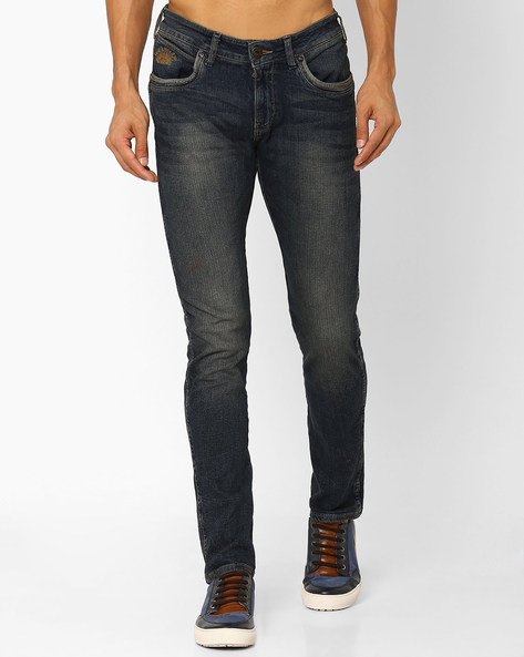 Structured Low-Rise Skinny Jeans By WRANGLER ( Blue )
