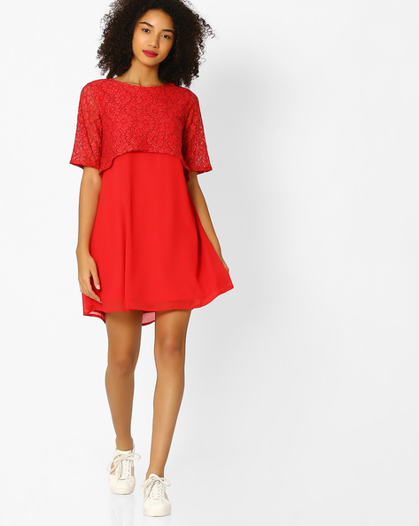 Popover Dress With Lace Sleeves By Femella ( Red )