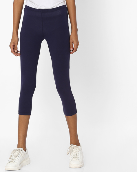 Knitted Leggings With Elasticated Waistband By Pink Woman ( Navyblue )