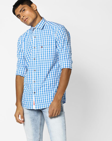 Checked Shirt With Patch Pocket By British Club ( Blue ) - 460108770004