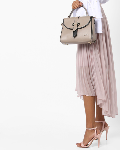 Satchel Bag With Detachable Strap By E2O ( Grey )