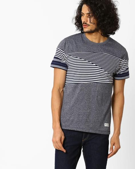 Panelled Crew-Neck T-shirt By FLYING MACHINE ( Assorted )