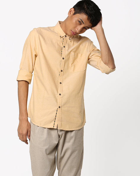 Oxford Shirt With Patch Pocket By Lee ( Yellow )