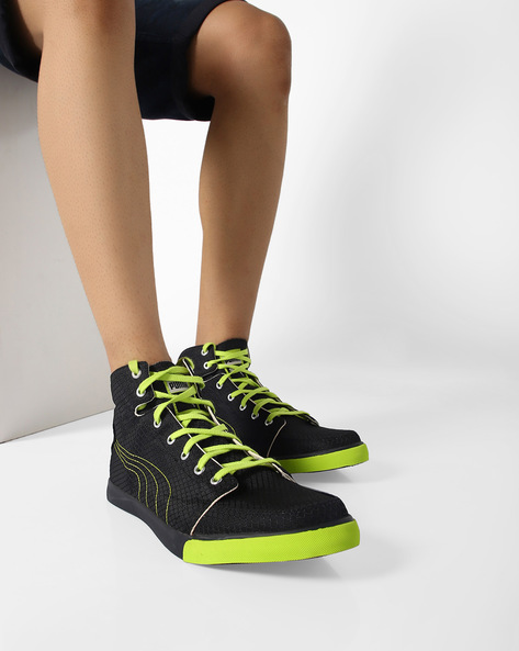 High-Top Lace-Up Sports Shoes By Puma ( Blkgrnslv )